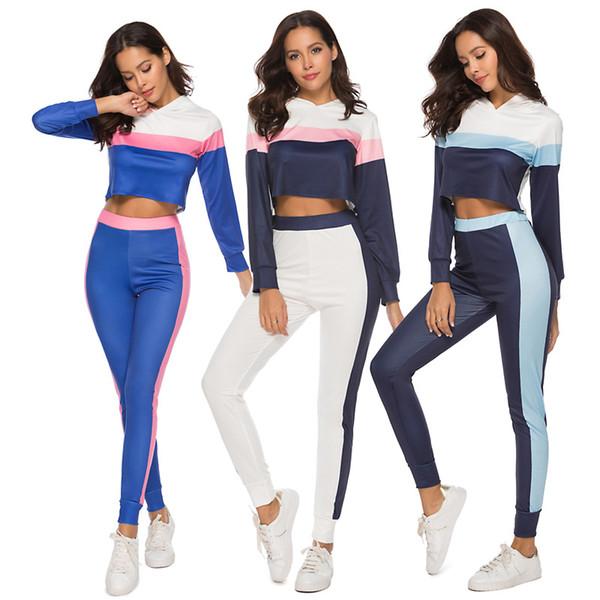 Ropa de mujer Conjuntos de dos piezas Conjunto de 2 piezas mujer explosiones calientes éxito costura de color moda de manga larga traje deportivo casual ropa de mujer