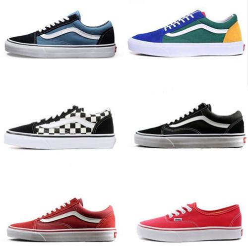 2020 Fear Of God Brand Van Old Skool Classic Men Women Canvas Sneakers Black White YACHT CLUB Red Blue Fashion Trainers Skate Casual Shoes From