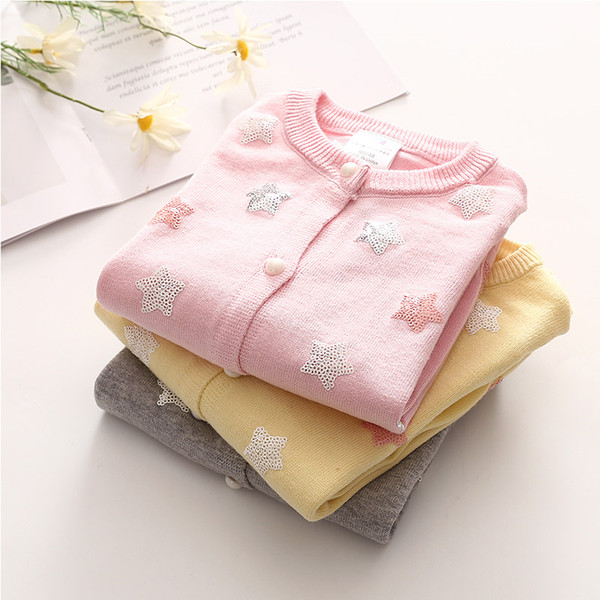 2019 Spring Fall New Arrival Baby Girls Paillette Star Knitted Sweater Little Girls Cute Knitwear Children Sequins Cardigan D178