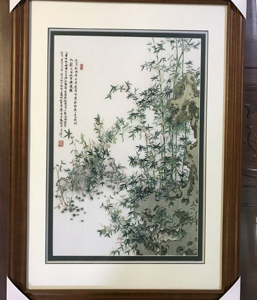 Handmade Art Crafts 100% Mulberry Silk Thread Finished Suzhou Embroidery not include frame ,home decor Bamboo ,40*60cm