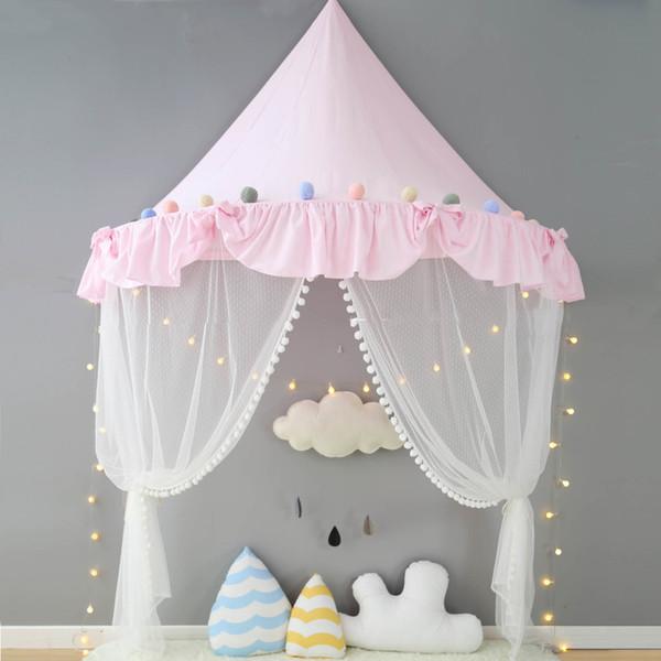 Pink Canopy Princess Bed Kids Play Tent House Toddler Baby Cuna Cortina Mosquito Net para Cuna Girls Room Decoración de Pared