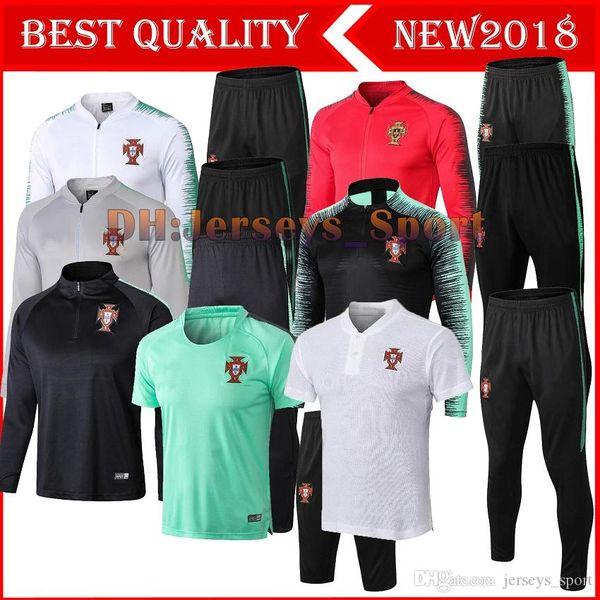 Survêtement de veste de football RONALDO 2018 2019 Soccer Jogging QUARESMA formation à manches longues Veste Pantalon