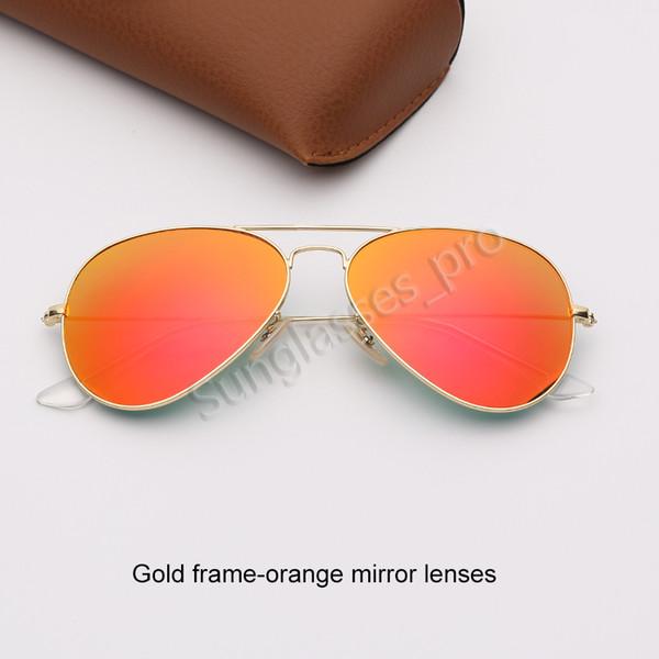 Altın çerçeve-turuncu ayna lensleri