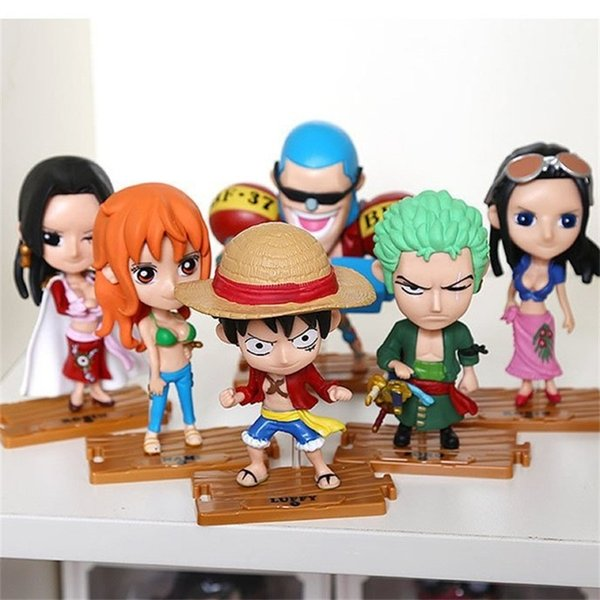 Ein stück anime spielzeug cartoon puppe luffy zoro pvc japanischen dekoration 10 stücke heißer verkauf 52fc f1