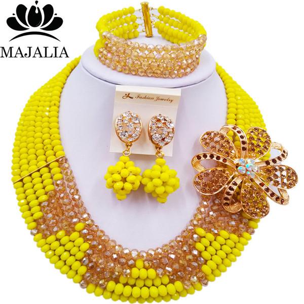 Trasporto libero stabilito 6ST0019 dei gioielli della sposa della collana della collana di cristallo gialla opaca nigeriana classica di cerimonia nuziale nigeriana di modo