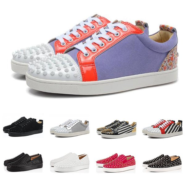 Chaussures de luxe haut de gamme chaussures de designer bas rouges pour hommes femmes coupe basse cloutés Spikes Party Lovers en cuir véritable rivet occasionnel Sneaker