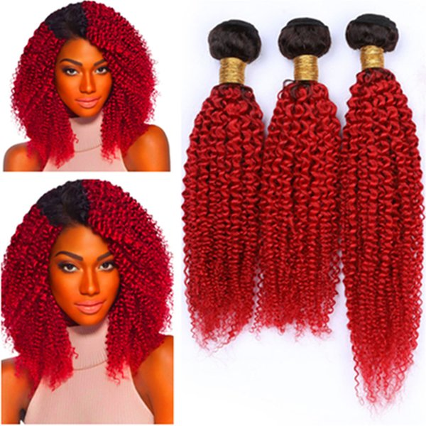 Red Ombre Human Hair Bundles Deals 3Pcs Lot Kinky Curly #1B/Red Ombre Virgin Peruvian Human Hair Weaves Extensions Dark Root Mixed Length