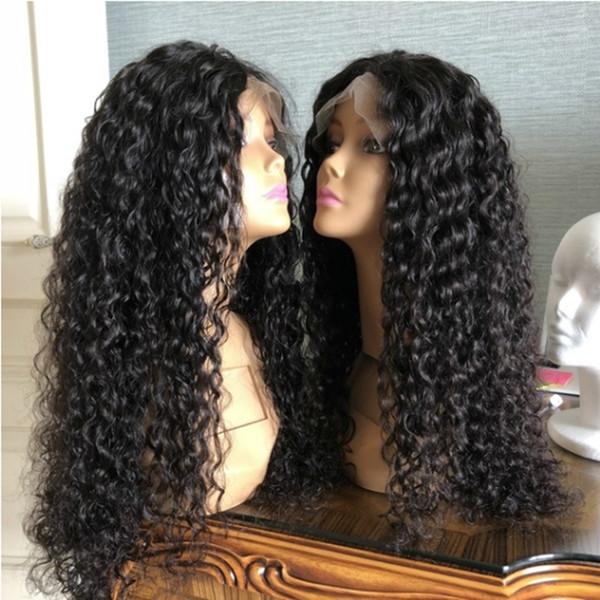 180% Densidade Natural Preto Afro Kinky Curly Onda de Água Peruca Dianteira Do Laço Sintético Glueless Resistente Ao Calor Fibra Perucas Com o Cabelo Do Bebê Para As Mulheres