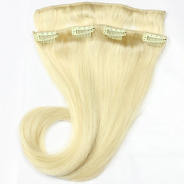 Best Blonde Indian Remy Clip Hair Extensions 8pcs/set 613 Blond Straight Bleaching Virgin Hair Weft Pretty 100grams 2sets Full Head for Sale