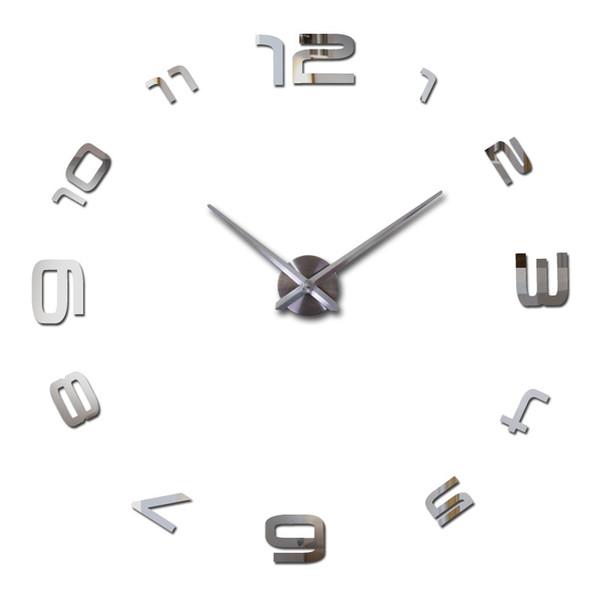 TOP!-Diy Arabic Large Number Wall Clock Modern Design Giant Wall Clock 3D Mirror Effect Sticker Frameless Huge Watch