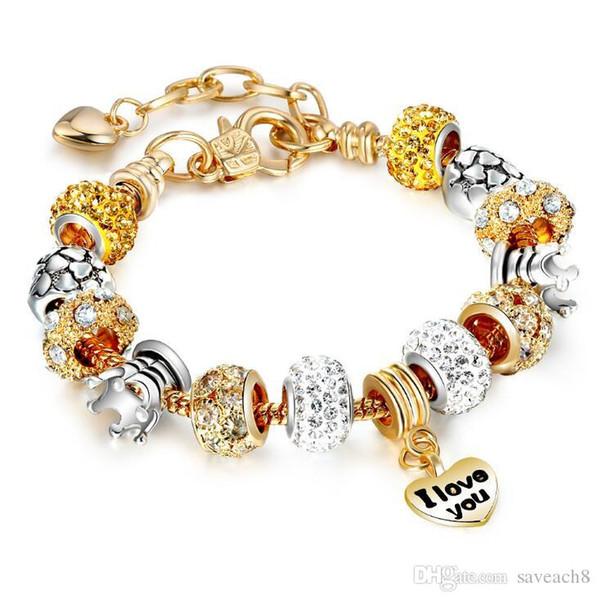19 Arten Goldfarbe Bettelarmband mit Herz Anhänger Gold Kristall Perlen Armband 19 + 3cm