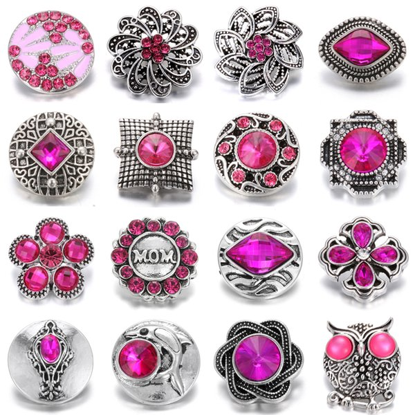 Noosa Chunk Snap Button Jewelry DIY Crystal Rhinestone Flower 18mm 20mm Metal Snap Buttons Fit Snap Bracelet Bangle