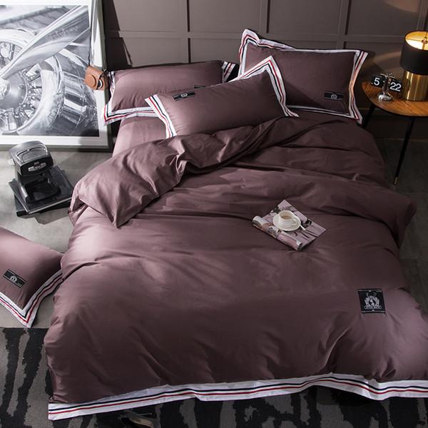 Svetanya Solid color Brown Bedding Sets Queen King Europe Size Bedclothes 100% Cotton Duvet Cover Set