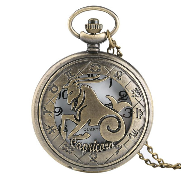 Vintage Twelve Constellation Capricorn Hollow Quartz Pocket Watch for Men Women Geometry Number Case Necklace Pendant Chain Kid Gifts