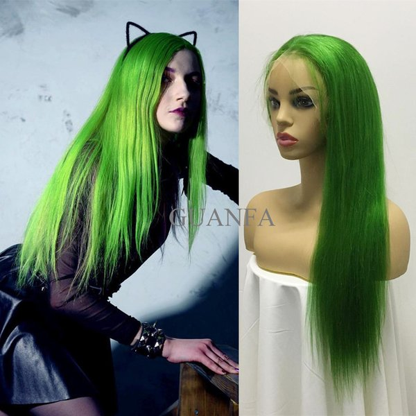Full Lace Wigs With Baby Hair Virgin Hair Green color Silky Straight 150% Density Bleached Knots Natural Hairline Lace Front Human Hair Wigs