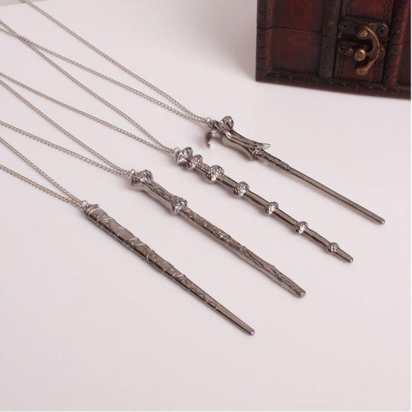 Magic Novel Vintage collar clásico cáliz de fuego collar de aleación varita mágica colgante collar llavero regalos juguete para hombre mujer