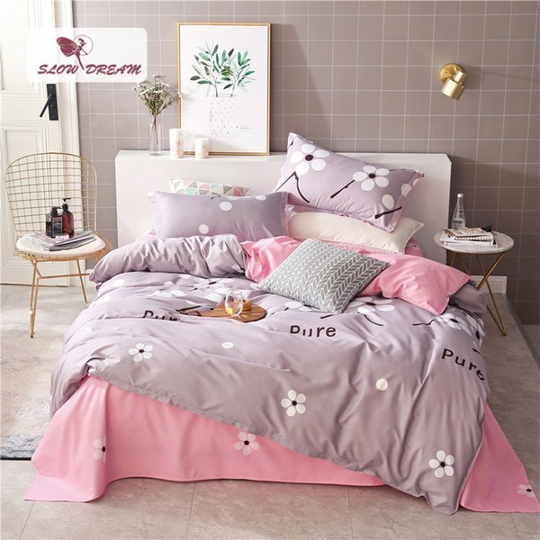 SlowDream Gray Bedspread Flowers Double Bedding Set Queen King Adult Duvet Cover Set Flat Sheet Pillowcase Decor Home Textiles