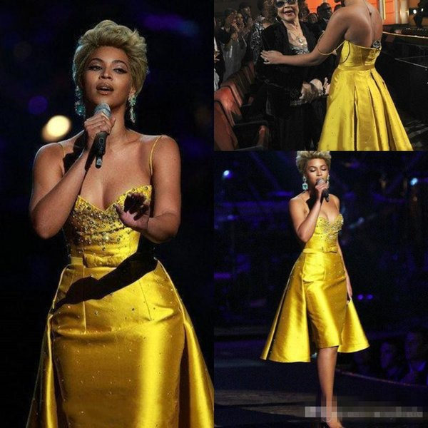 Yellow Beaded Prom Dresses Short With Overskirt 2019 Beyonce Knowles Straps Knee Length Cocktail Party Dress Sweetheart Evening Gowns