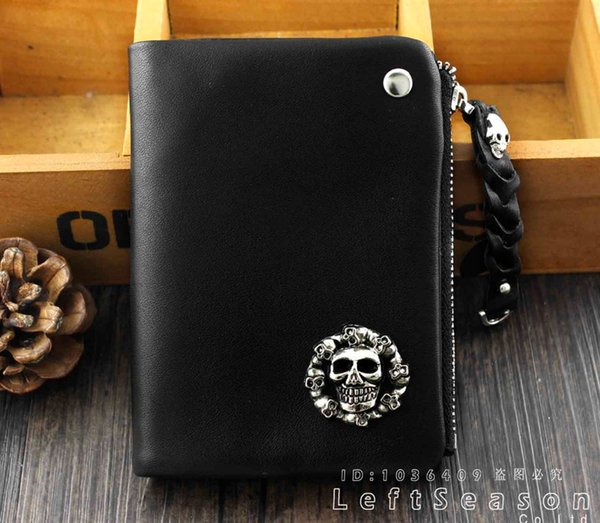 Real Leather Men's Lady Fashion Skull Wallet Card Holder #302477