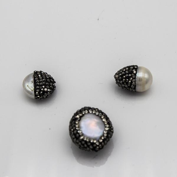 Antike Strass Süßwasser Perle Ton Handgemachte Runde Charms Anhänger Perle Schmuckzubehör Zubehör für DIY Machen Handwerk Großhandel