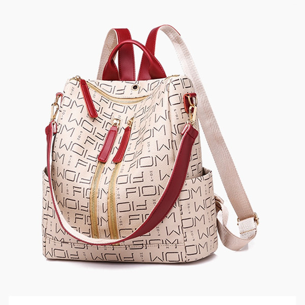 Leather Backpacks for Adolescent Girls Zipper Backpack Female Backpack to School Notebooks Laptop College bag #226942