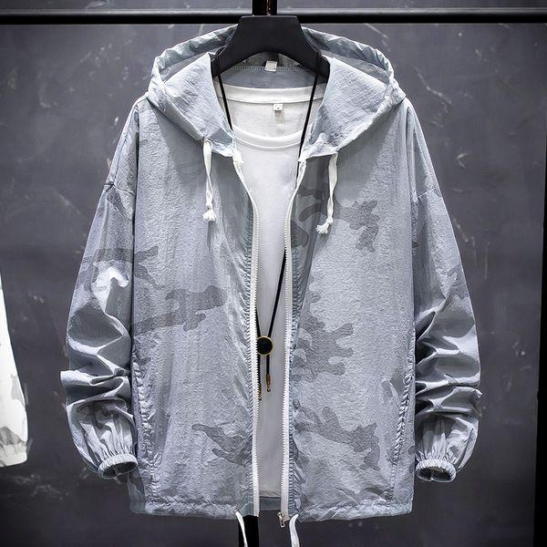 Mode 2019 Sun Protection Vêtements D'été Vestes À Capuche Hommes Lâche Camouflage Imprimer Amant Outwear Manteaux Mince Veste Mâle Blanc
