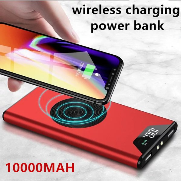 LED display Aluminum alloy Wireless Qi Charger 10000mAh Power Bank Fast Charging Adapter For iPhone 8 iphone X For Samsung S9 Note 9