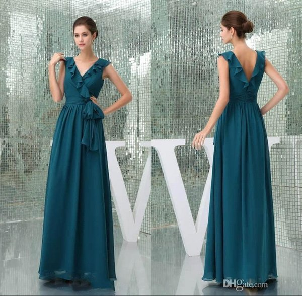 579cf3a41aa Peacock Blue V Neck Chiffon Bridesmaid Dresses V Cut Back A line Maid of  Honor Gown
