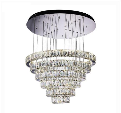 "Luxury Contemporary Crystal Pendant Lights K9 Crystal Chandeliers Lighting With 6/8 Crystal Circulars D23.6""*H74.6"""