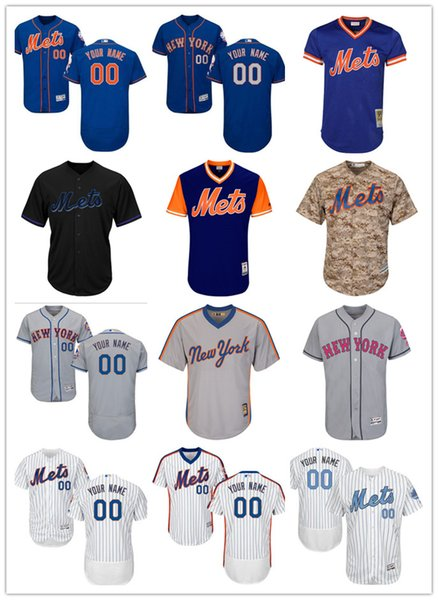 sports shoes eed99 77de9 2019 Custom New York Men'S Women Youth Majestic NY Mets Jersey #00 Any Your  Name And Your Number Home Blue Grey White Baseball Jerseys From ...