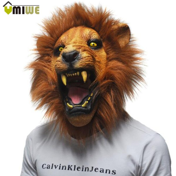 silicone Latex Realistic 2016 Halloween Horror Scary Full Face Ferocious Angry Lion Head Animal Masquerade Party Silicon Mask
