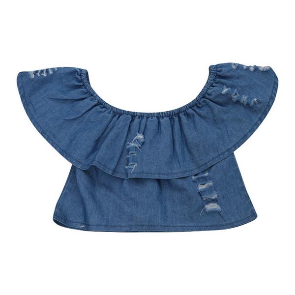 Neue Stil Kleinkind Baby Kinder Mädchen Schulter Denim Tops Bluse Shirts Sleeveless Hohe Qualität Loch Kleidung Bluse