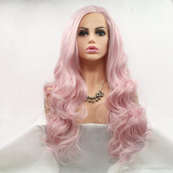 Hot Cute Cosplay White Pink Body Wave Synthetic Hair Lace Front Wig Glueless Natural Hairlline Heat Resistant Fiber Hair For Women Wigs
