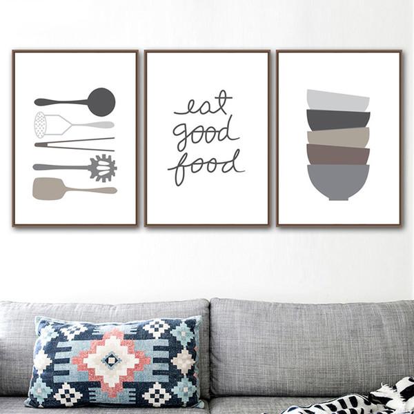 Compre Imprimir Wall Art Nordic Lona Dos Desenhos Animados Preto E Branco Pintura Minimalista Louça Life Poster Imagem Para Cozinha Home Deco De