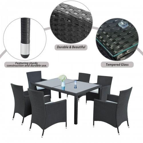 7-teiliges Outdoor-Wicker Dining Set - Restaurants Tisch für 6 - Patio-Rattan-Möbel Set mit Beige Kissen