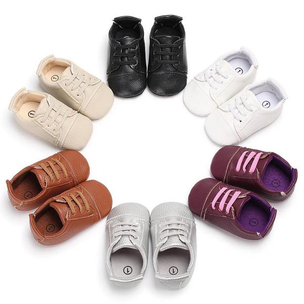 Baby Jungen einfarbig Herren Lederschuhe niedlichen Säuglingsslipper weiche Sohle PU-Schuhe 0-18m 2019new