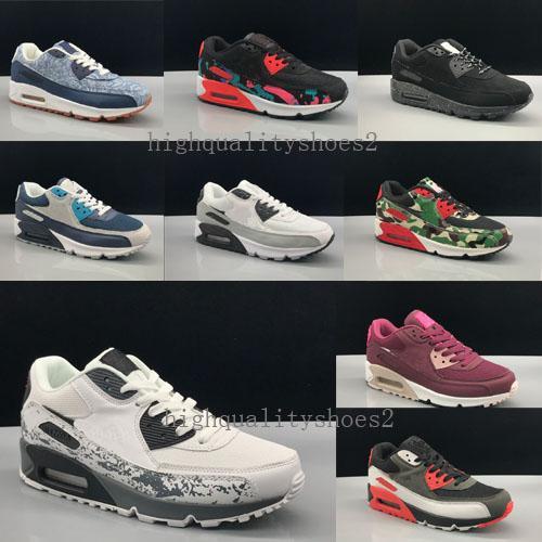 2018 Sıcak Satış Yastık 90 Koşu Ayakkabıları Erkekler 90 Yüksek Kalite Yeni Sneakers Ucuz Spor Ayakkabı Boyutu 40-45