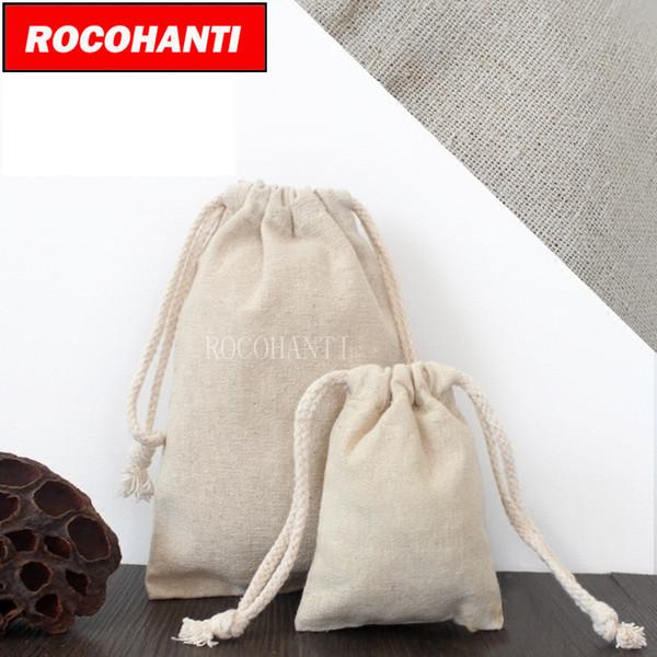 30X Индивидуальный заказ Accept Burlap Linen Bags Хлопковая льняная хозяйственная сумка с толстой веревкой на шнуровке