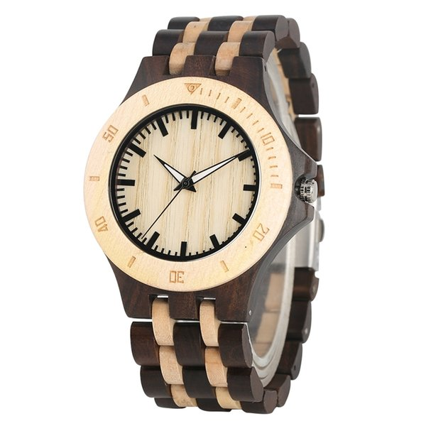 Eco-friendly Zebra Ebony Wood Watch for Men Natural Quartz Analog Wood Watches Practical Luminous Function Wooden Wristwatch for Male