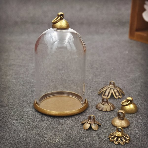 ecklace jewelry case 5sets/lot 38*25mm glass globe antique bronze base 8mm beads cap set glass bottle vial pendant necklace pendant jewel...
