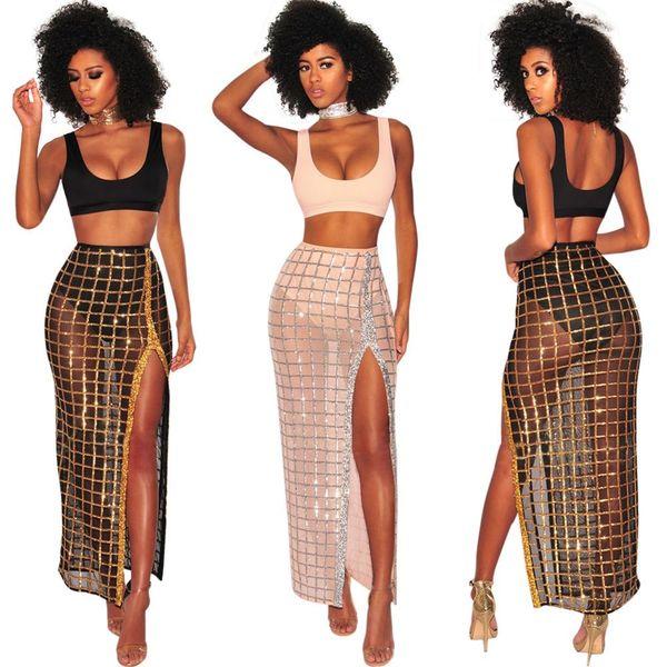 Sexy Night Party Trajes de 2 piezas Mujer Crop Top y Dividir con alto brillo Falda Traje Ver a través de Clubwear Vestido de dos piezas brillante hasta el tobillo