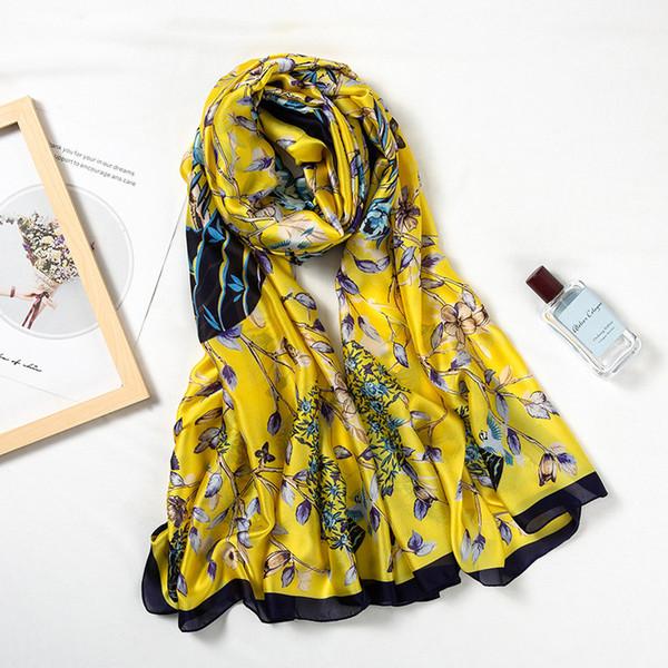 2019 New Silk Scarf Women Vase Flower Printing Foulard Female Fashion Shawls&Wraps Beach Towel Soft Long Scarves Kerchief 180*90cm