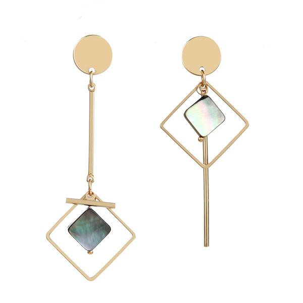 Geometrik Eşkenar Dörtgen Asimetri Kabuk Metal Çubuk Uzun Püskül Dangle Bırak Küpe Kadınlar Için Küpe Moda Takı Brincos Oorbellen