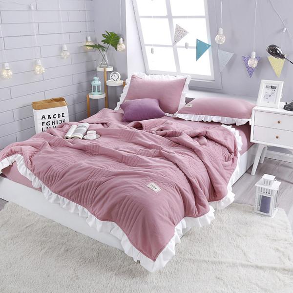 Bettwäsche-Sets einfarbig Spitze Quilt Sommer Klimaanlage Bettwäsche Kissenbezug vierteilige Bettdecken Sets Quilt