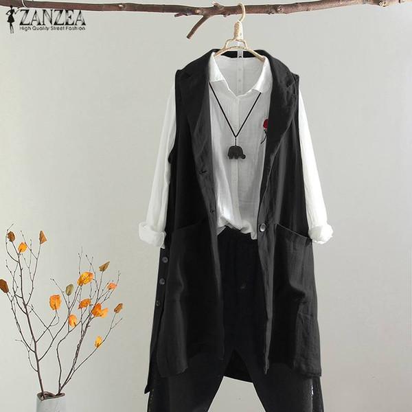 Plus Size Casual Weste Frauen Lange Jacken ZANZEA Mode Chalecos Para Mujer Revers Outwear Feste Strickjacke Gilet Femme Chaleco
