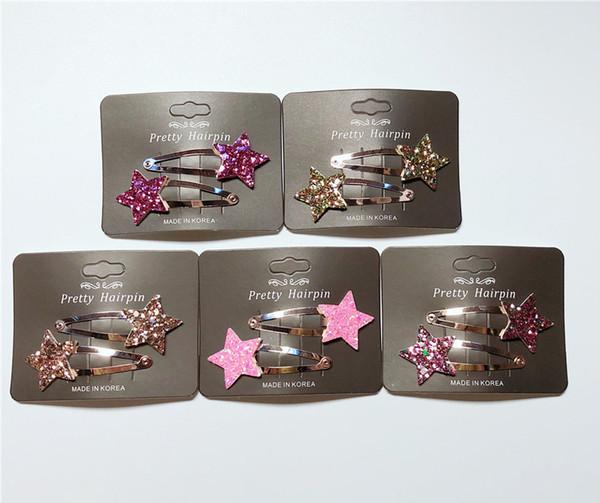 Wholesale 15Sets Boutique ins Fashion Cute Glitter Star Snap Clips Cartoon Barrettes Princess Headwear Hair Accessories