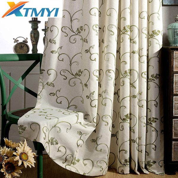 Modern Curtains for the Bedroom Blackout Curtains for Living Room Gray \ green embroidered sheer fabric blinds drapes