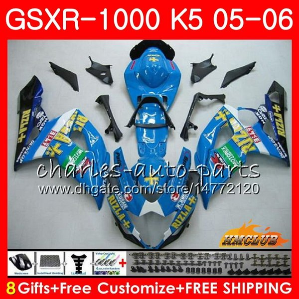 BodyworkForSUZUKIGSXR-1000K5GSXR10000506Bodykit11HC.107GSXR1000GSXR1000RIZLA BLUE hot 20052006GSX-R10000506Fairing+Cowl