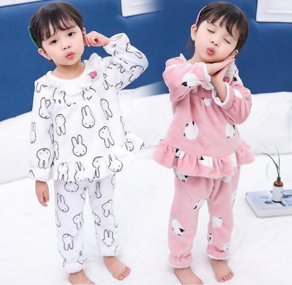 Moda Inverno Bambini Pile Pigiama caldo Flanella Sleepwear Ragazze Loungewear pizzo Foglia di loto Corallo Per Bambini pigiama Homewear