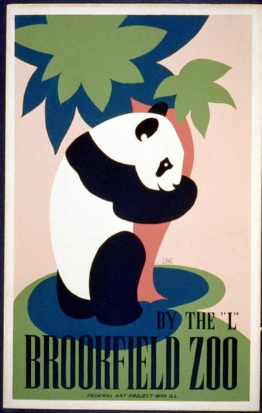 WPA vintage Poster Brookfield Zoo Panda Dipinti su tela classici Poster murali vintage Adesivi Decorazioni per la casa Regalo